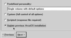 ArcaOS 5.0 Update option