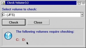 Check Volume(s) dialog