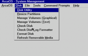 System Management Disk menu